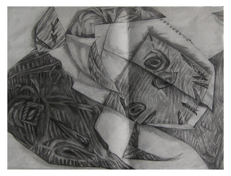 """Eye Folds - 20 x 17"""", Charcoal and Pencil on 140# Water Color Paper, 2000"""