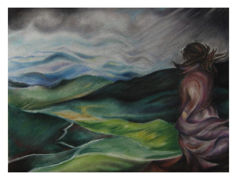 "Overlooking the Valley - 19 x 15"", Chalk Pastel on 300# Water Color Paper, 2005"