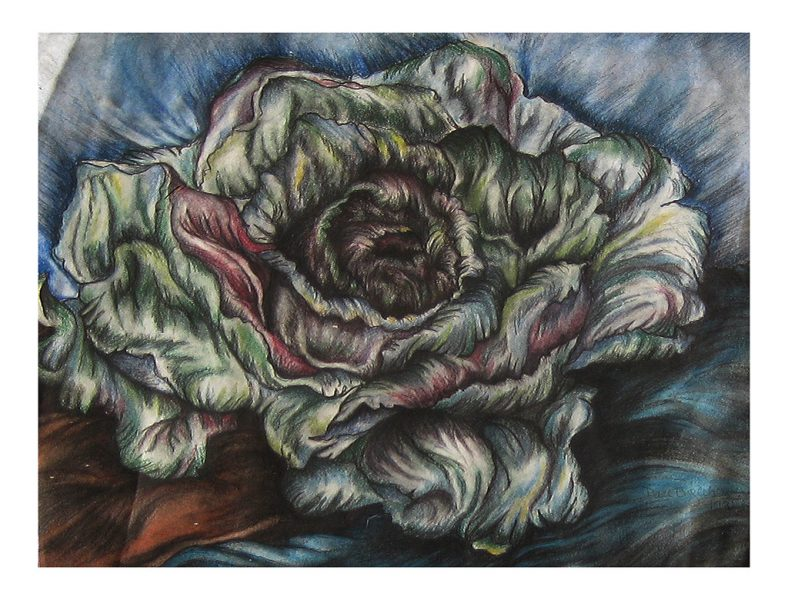 "Radicchio Mandala - 16 x 14"", Chalk Pastel on 50# Water Color Paper, 1998"