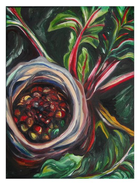 "Swiss Chard and Birds Nest - 20 x 16"", Oil on Canvas, 2013"
